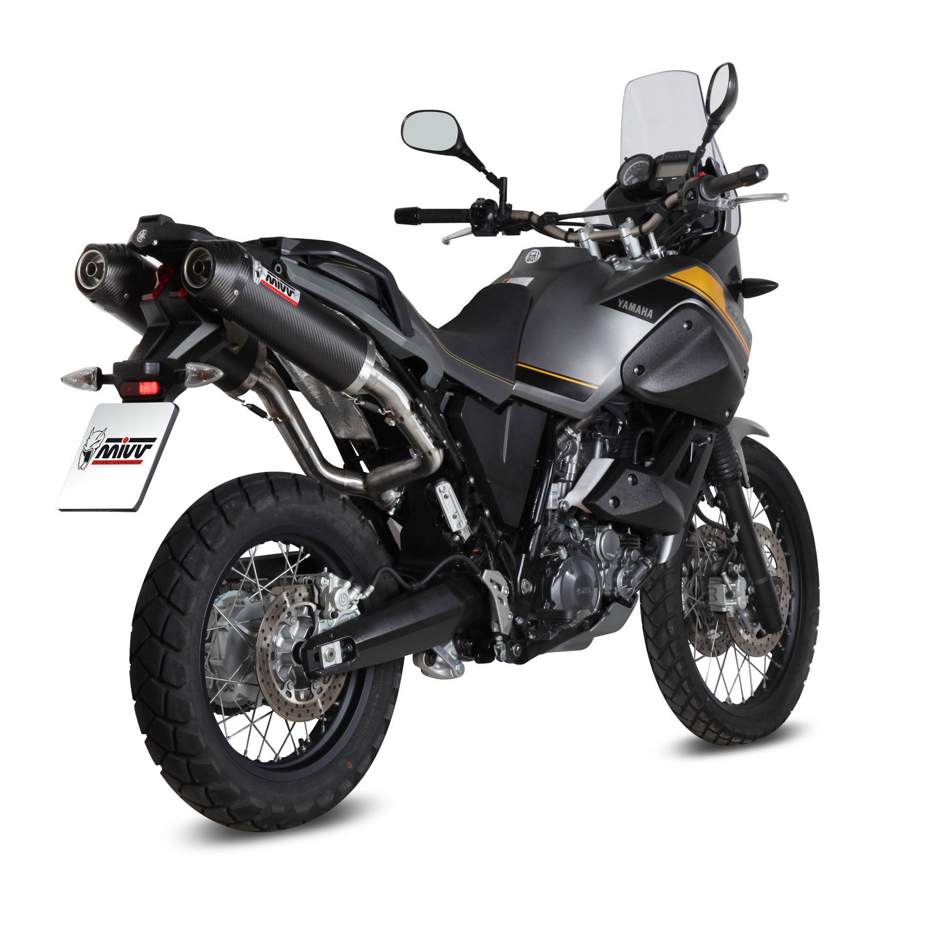 Silencieux MIVV double Oval carbone casquette carbone Yamaha XT 660 Z