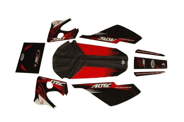 Kit déco Altec Racing Vintage Derbi Senda avec housse de selle - Rouge