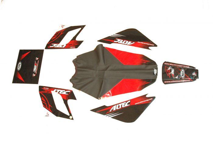 Kit déco Altec Racing Vintage Derbi DRD avec housse de selle - Rouge
