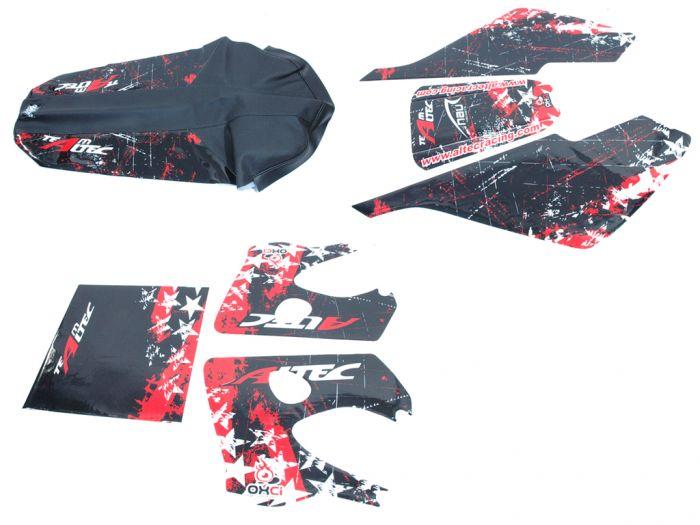 Kit déco Altec Racing Winner Derbi Senda avec housse de selle - Rouge