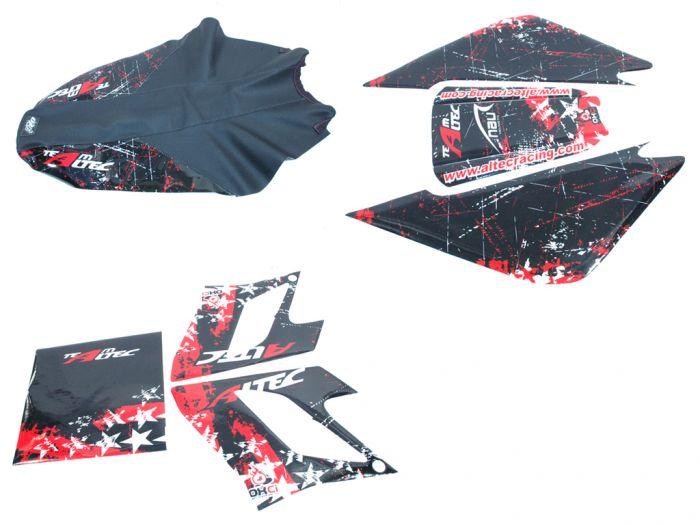 Kit déco Altec Racing Winner Derbi DRD avec housse de selle - Rouge