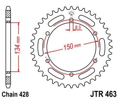 Couronne JT Sprockets Acier pas 428 48 dents - Pour Kawasaki KMX 125 8