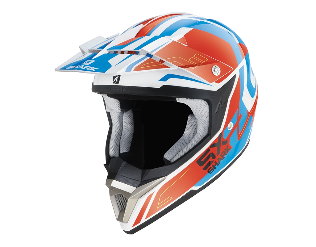 Casque cross Shark SX2 BHAUW blanc/rouge/bleu - XS