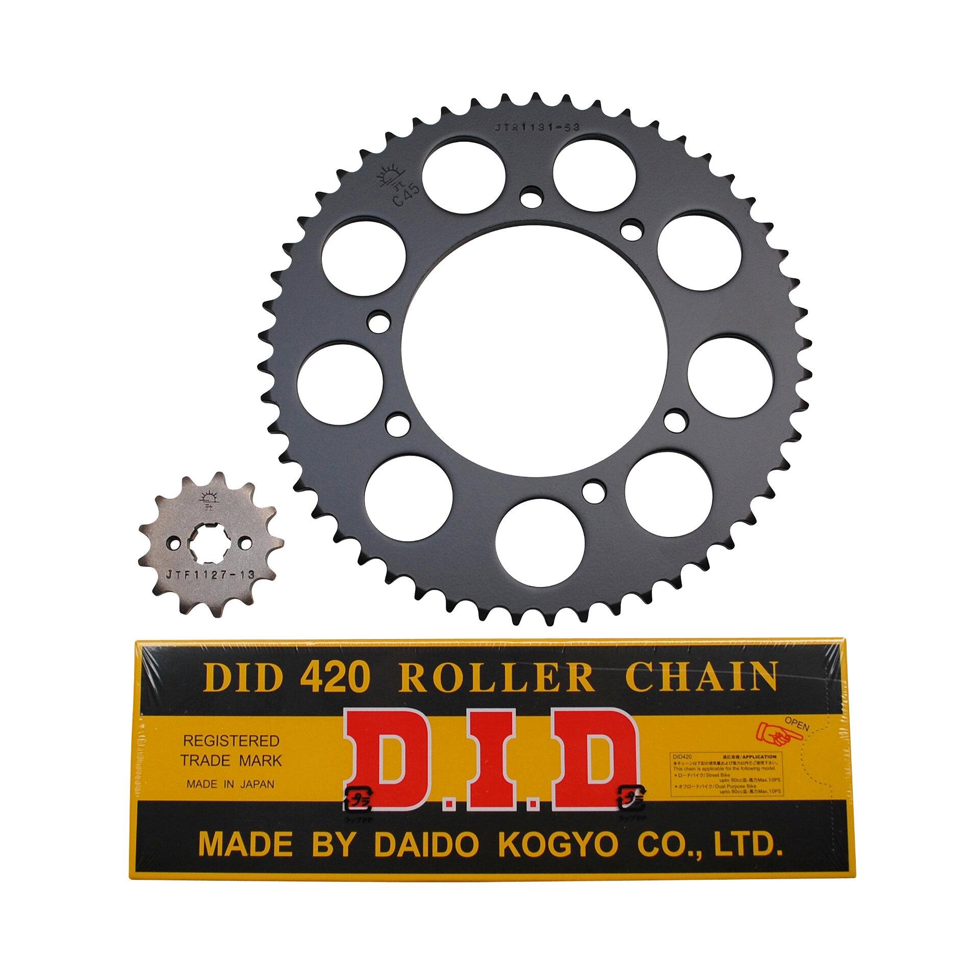 Kit chaîne DID acier Derbi 50 Senda R1/ X-Treme/ X-Race 00-05