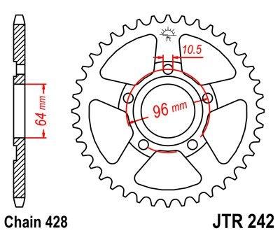 Couronne JT Sprockets Acier pas 428 53 dents - Pour Honda XL 125 R Pro