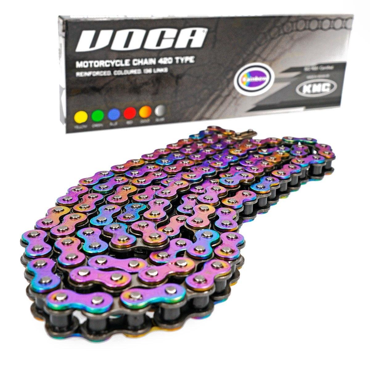 Chaîne renforcée Voca Racing 136 maillons pas 420 couleur titane