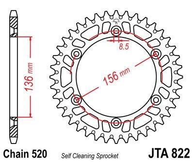 Couronne JT Sprockets Aluminium pas 520 53 dents - Pour Husqvarna TC 4