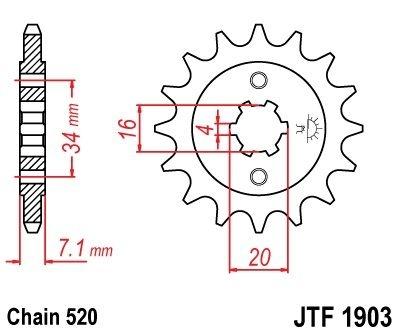 Pignon JT Sprockets Acier pas 520 14 dents - Pour KTM Duke 200 12-16