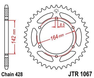 Couronne JT Sprockets Acier pas 428 52 dents - Pour Hyosung GT 125 Nak