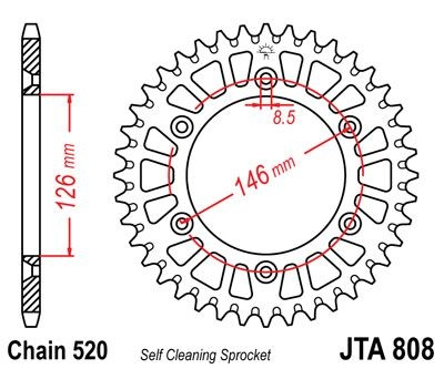 Couronne JT Sprockets Aluminium pas 520 50 dents - Pour Suzuki RM-Z 45