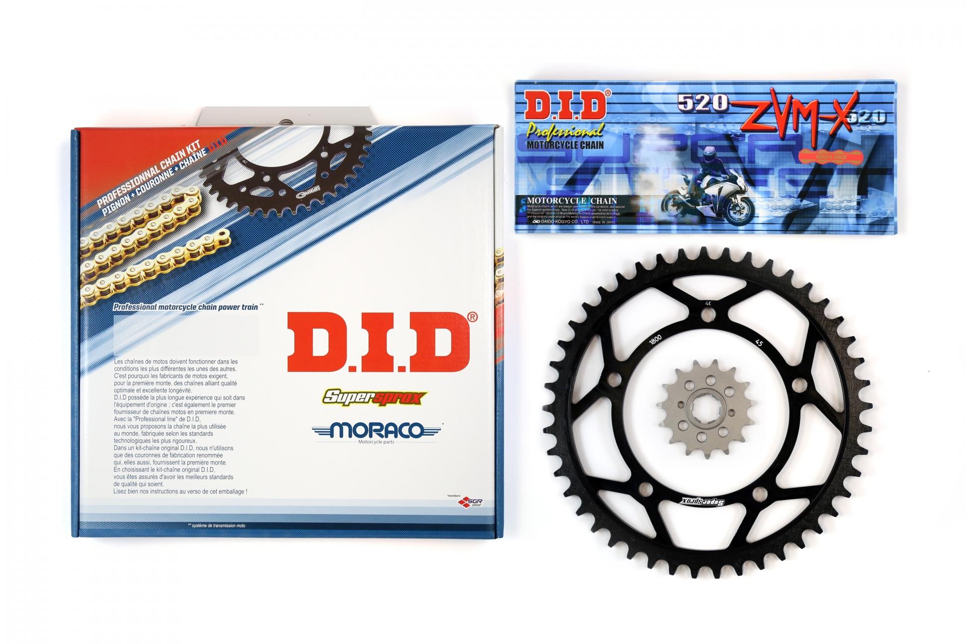 Kit chaîne DID acier Daelim 125 VL Daystar / Classic 00-07