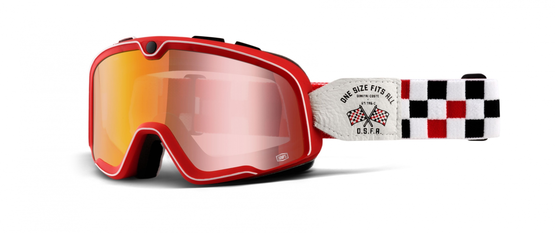Masque cross 100% Barstow Osfa 2 Mirror red lens
