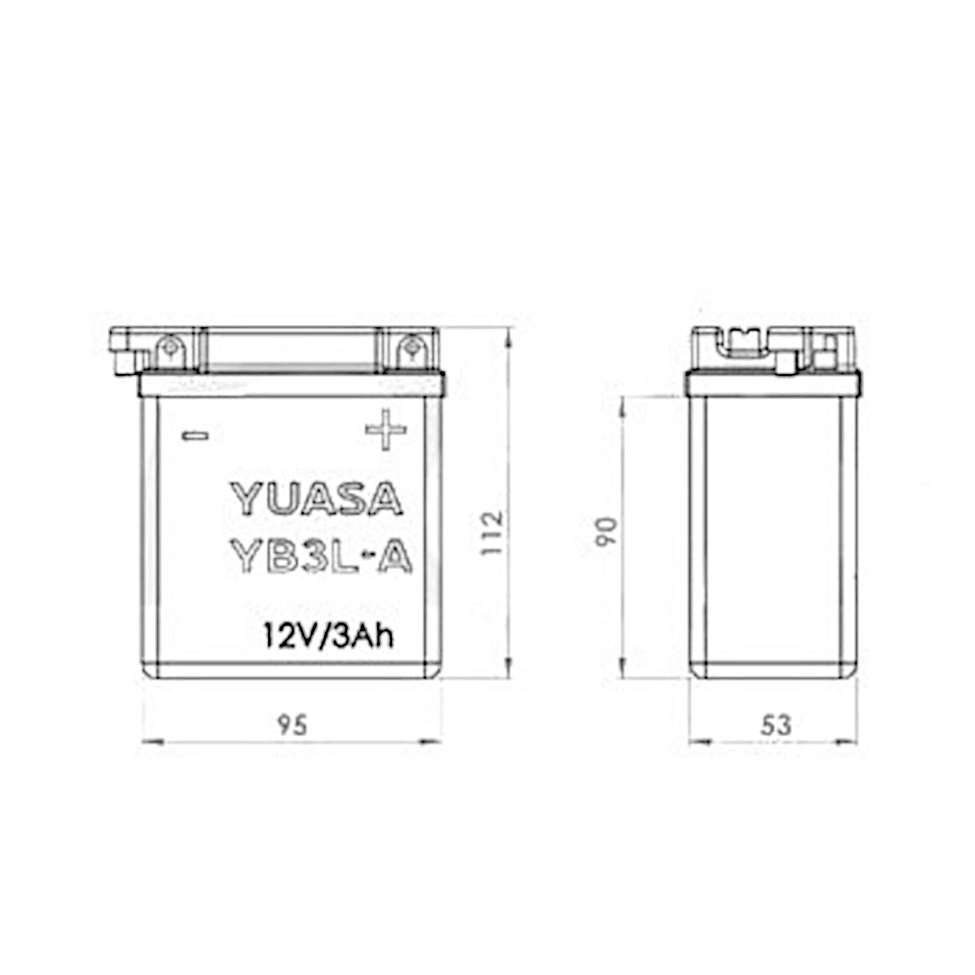 Batterie Yuasa YB3L-A 12V 3Ah avec entretien