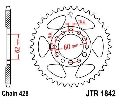 Couronne JT Sprockets Acier pas 428 50 dents - Pour Yamaha TW 125 99-0