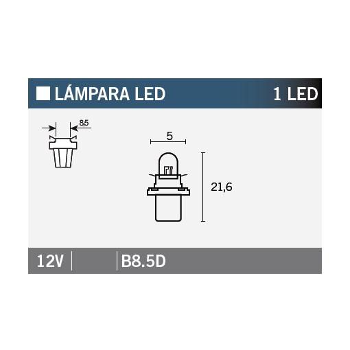Ampoule Vicma B8,5D LED 12V Blanche