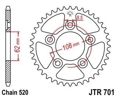 Couronne JT Sprockets Acier pas 520 43 dents - Pour Cagiva Mito 125 SP