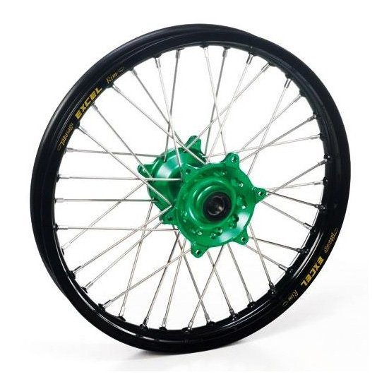 Roue arrière Haan Wheels/Excel 14x1,60 Kawasaki 80 KX 00-17 noir/vert
