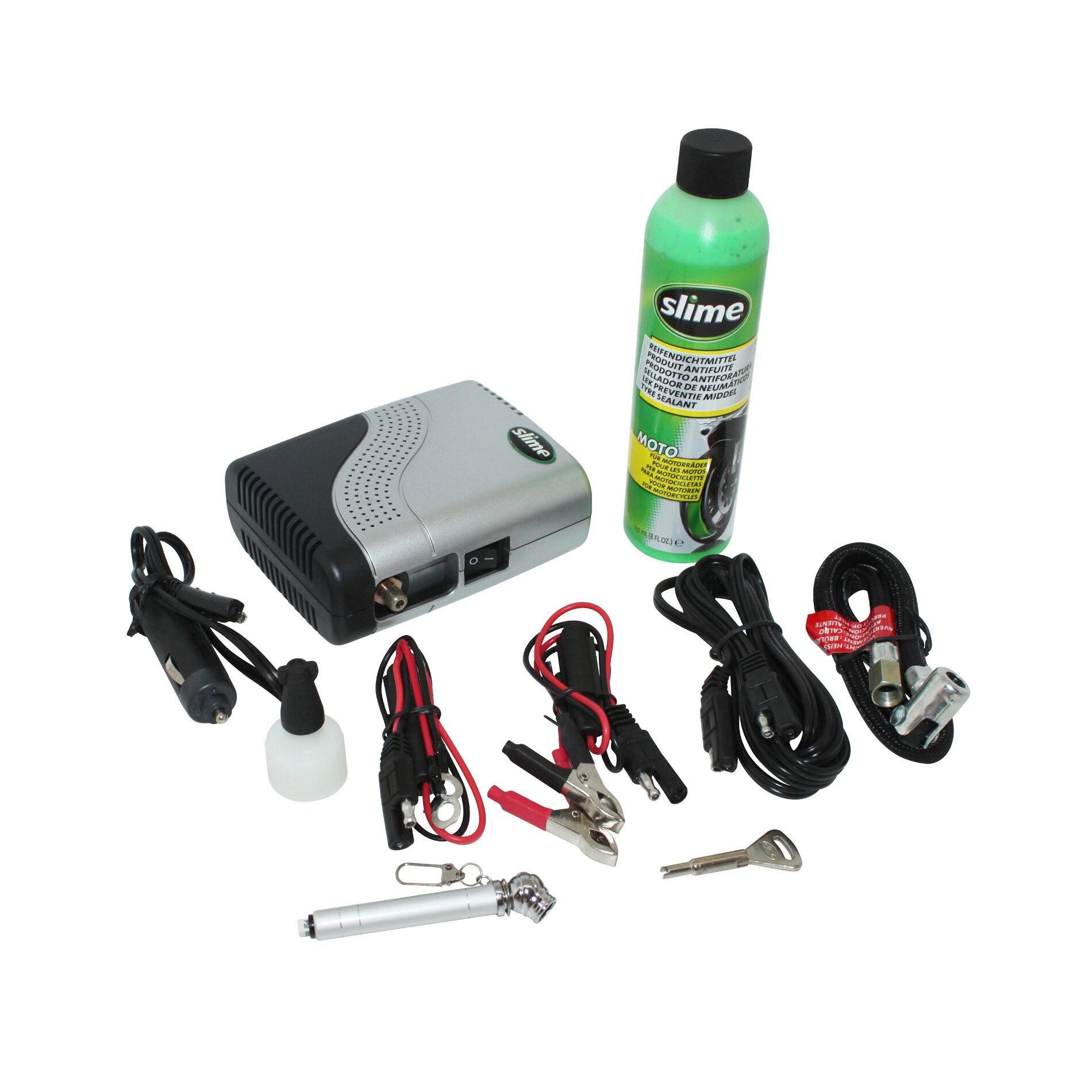 Liquide anti-crevaison Slime Scooter/moto kit avec compresseur 21 bars