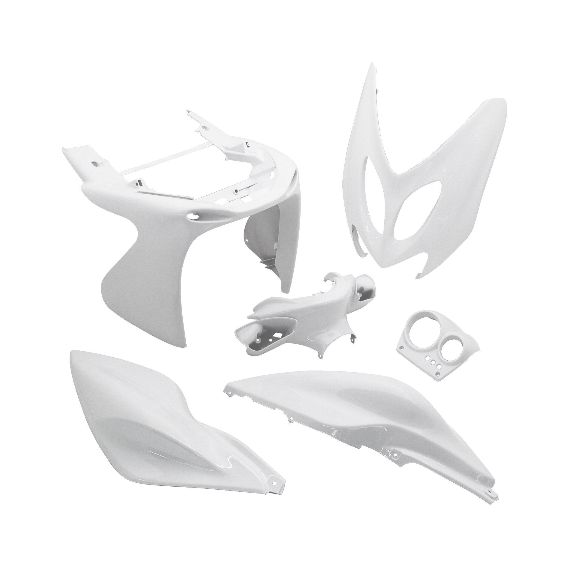 Kit carrosserie 6 pièces blanc brillant adaptable Nitro/Aerox