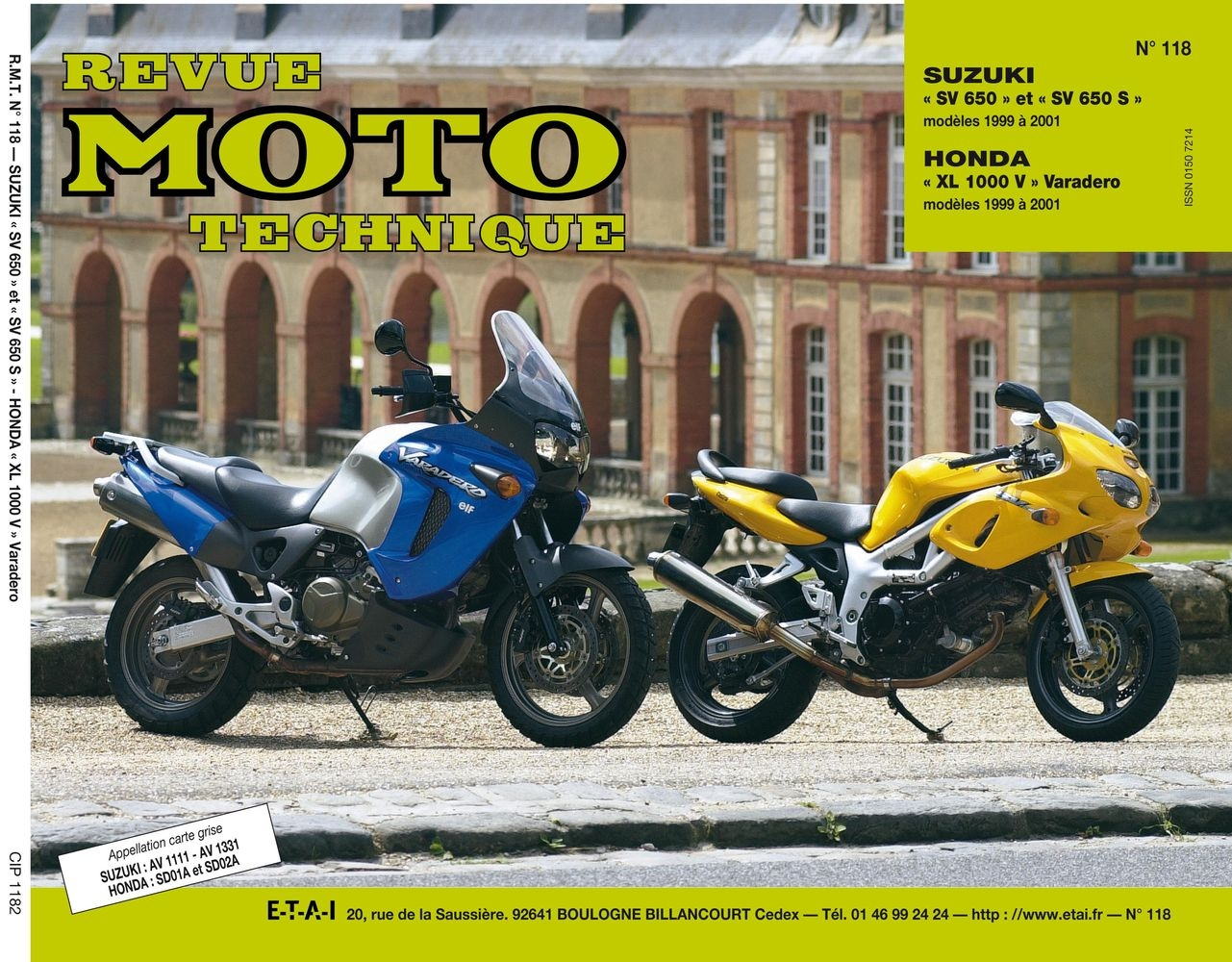 Revue Moto Technique 118.2 Honda XL1000V 99-01 / Suzuki SV 650 99-01