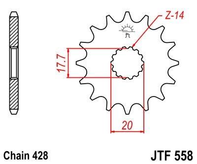 Pignon JT Sprockets Acier pas 428 16 dents - Pour Yamaha DT 125 R 90-0