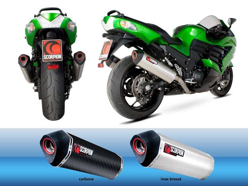 Silencieux Homologué Scorpion Serket Carbone pour Kawasaki ZZR 1400 12