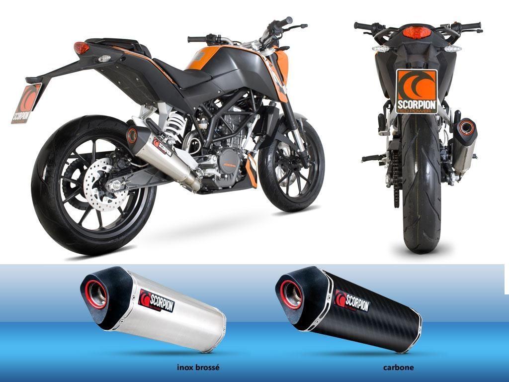 Silencieux homologué Scorpion Serket Carbone pour KTM Duke 125 11-12