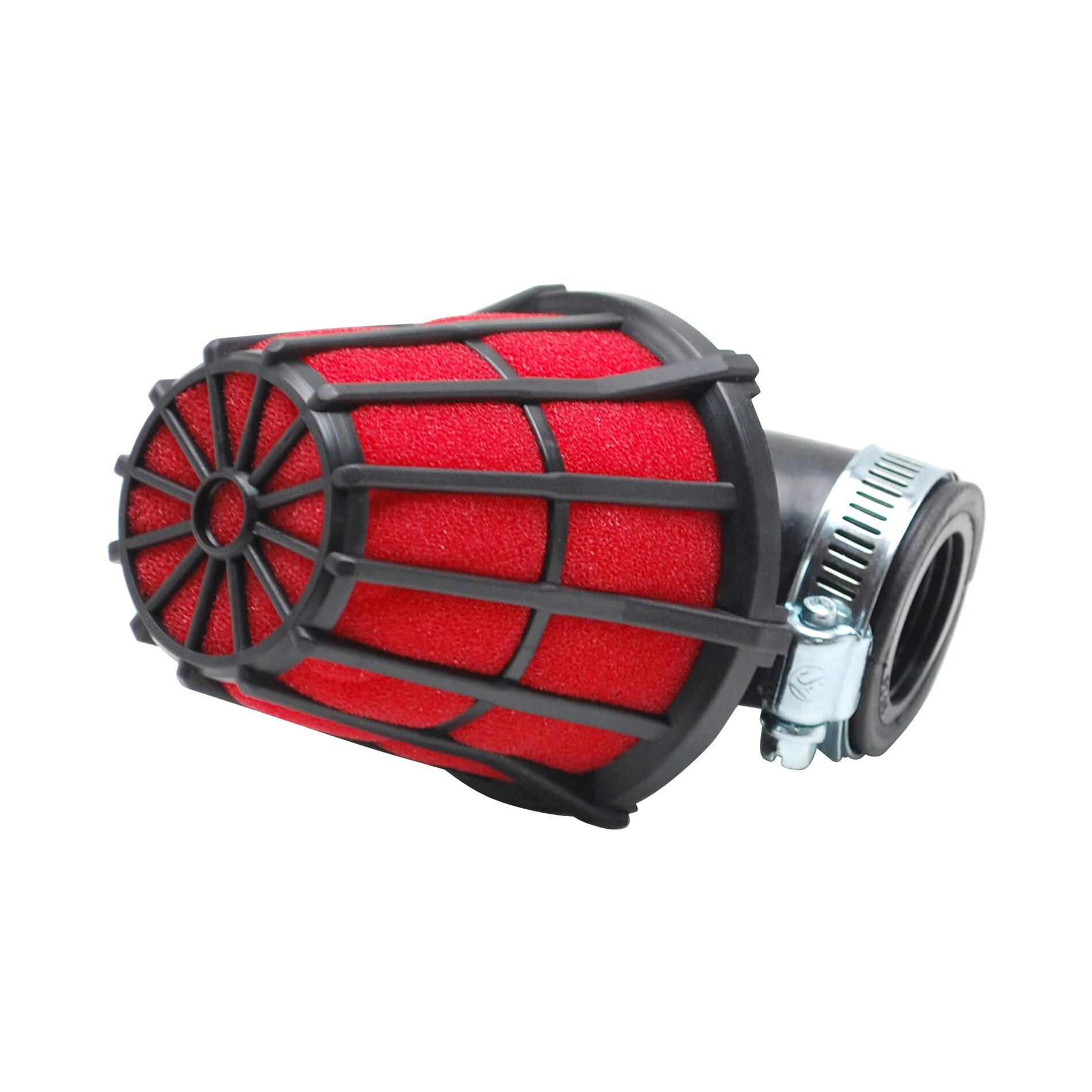 Filtre à air Replay hexagonal noir mousse rouge fixation coude 90 D.