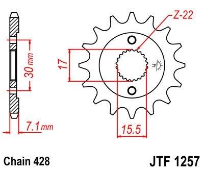 Pignon JT Sprockets Acier pas 428 15 dents - Pour Honda CR 80 R 86-02