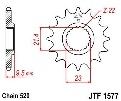 Pignon JT Sprockets Acier pas 520 15 dents - Pour Yamaha XT 600 E 99-0
