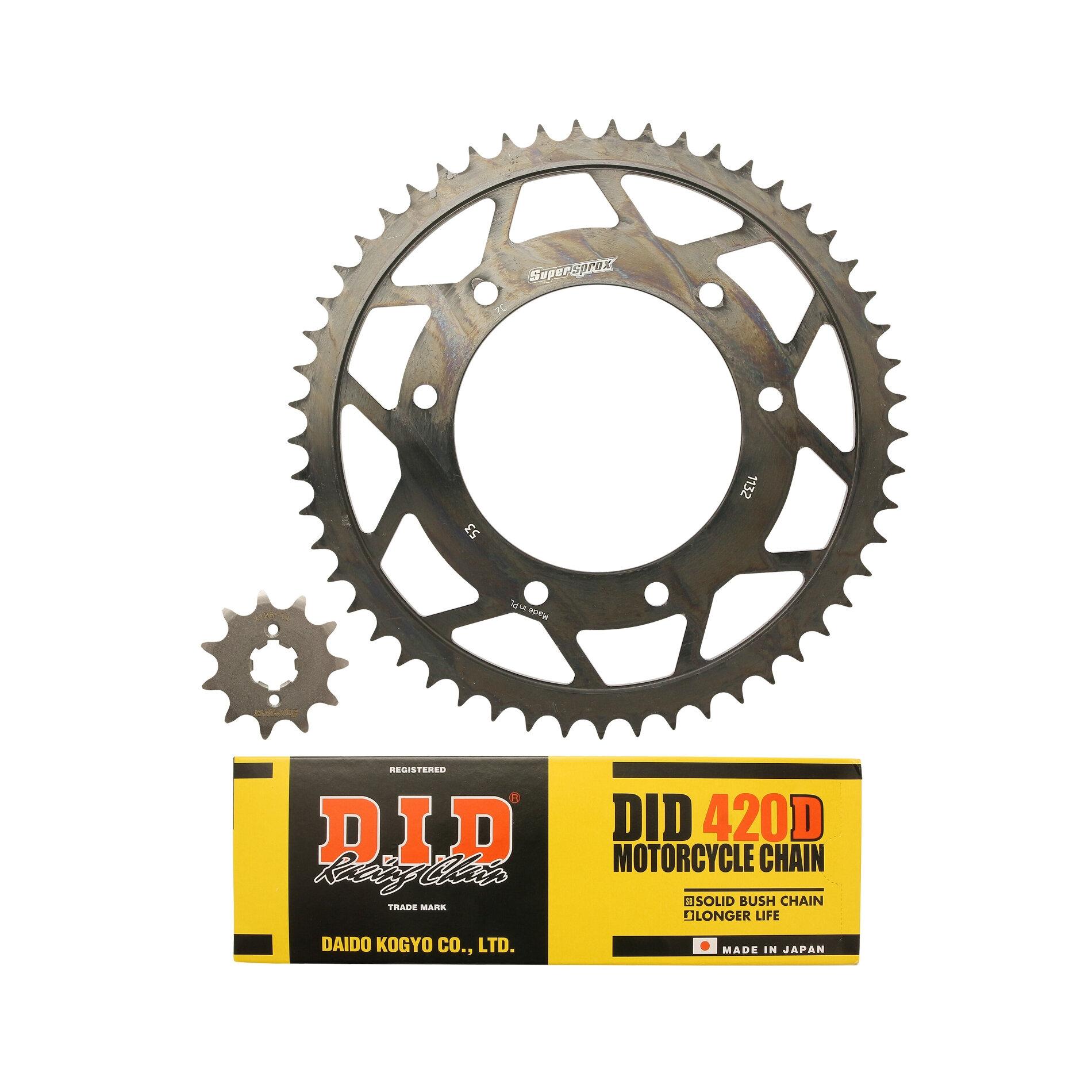 Kit chaîne DID acier Derbi 50 SM DRD PRO roues rayons 06-07