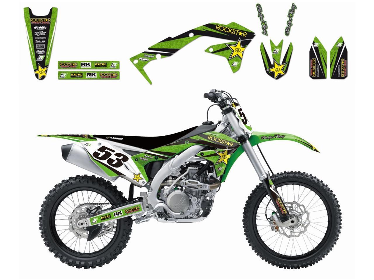 Kit déco Blackbird Rockstar Energy Kawasaki 250 KX-F 09-12 vert