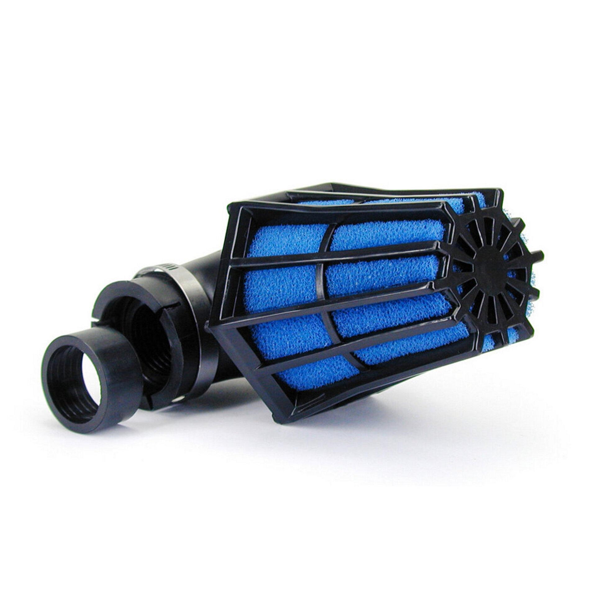 Filtre à air Hexagonal fixation à 90 D.28-35 mousse Bleue - Noir