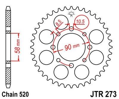 Couronne JT Sprockets Acier pas 520 45 dents - Pour KTM Duke 125 11-13