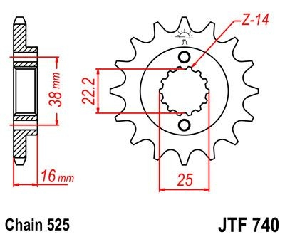 Pignon JT Sprockets Acier pas 525 14 dents - Pour Ducati 796 Hypermota