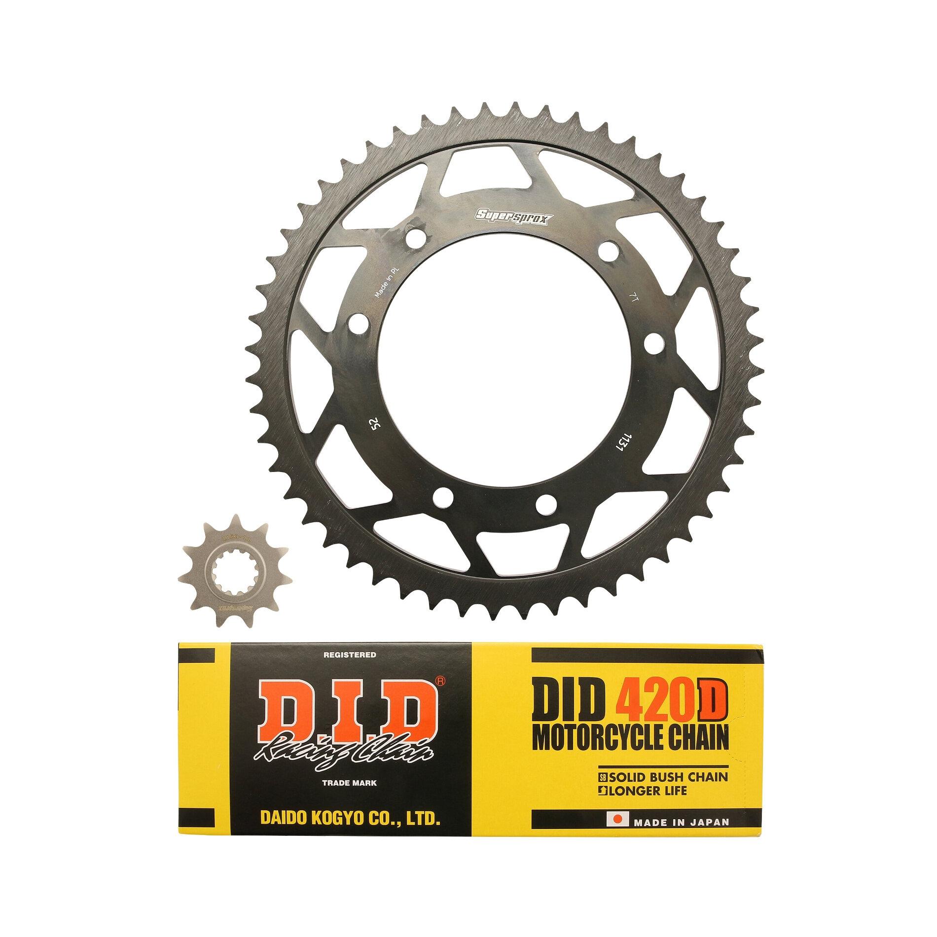 Kit chaîne DID acier Peugeot 50 XP6 Enduro / Track 50 04-06