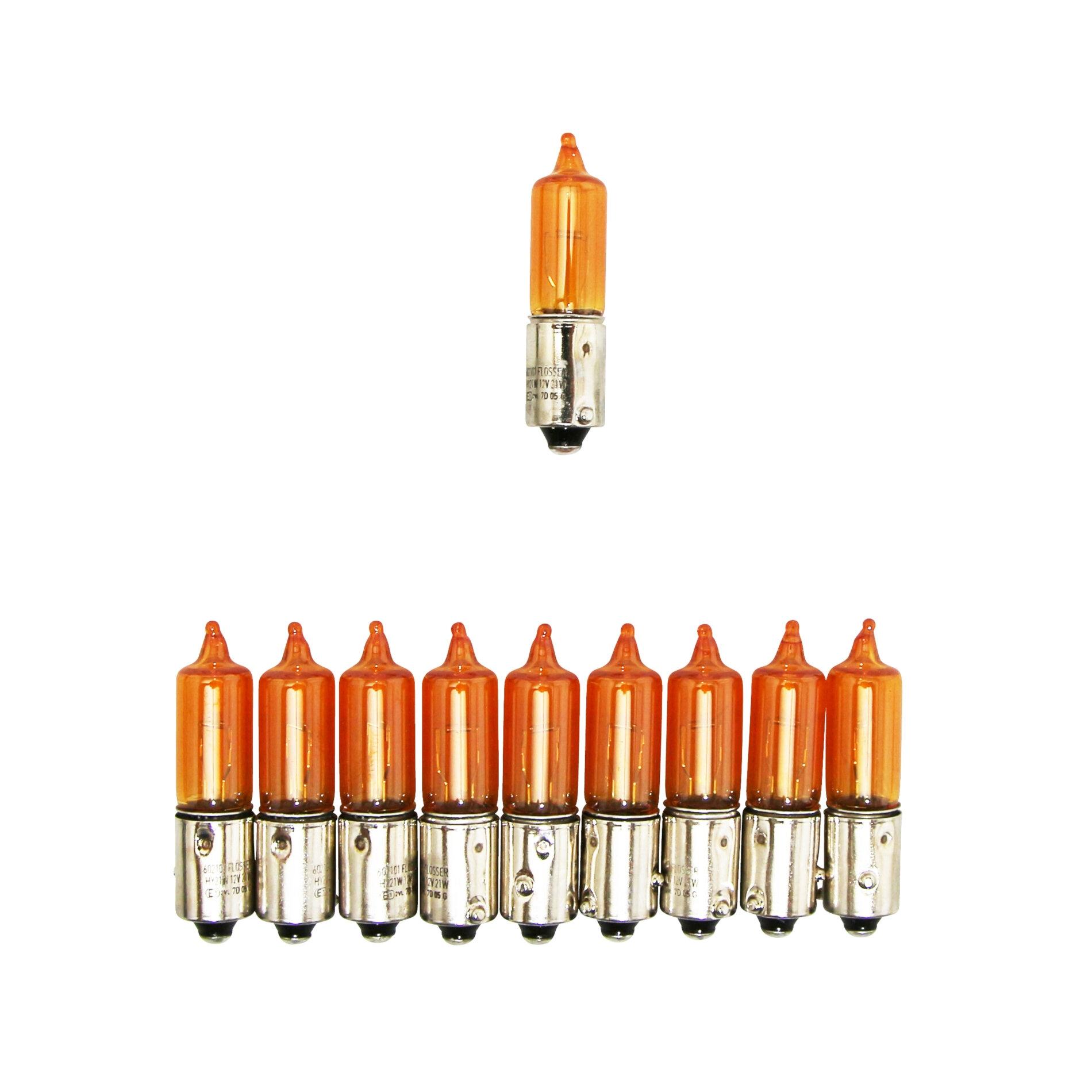 Ampoules Flosser 12V 21W H21 culot BAY9S avec ergots décalés oranges (
