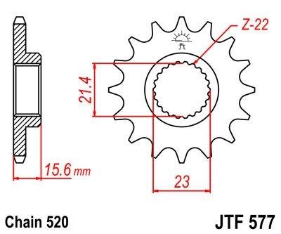 Pignon JT Sprockets Acier pas 520 14 dents - Pour Yamaha XT 600 E 89-9