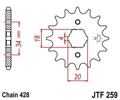 Pignon JT Sprockets Acier pas 428 14 dents - Pour Daelim VC 125 Roadwi