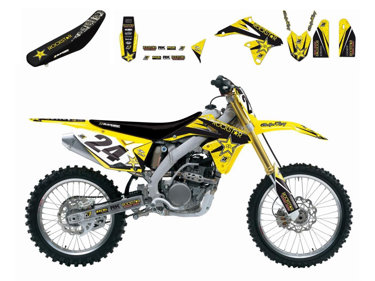 Kit déco + Housse de selle Blackbird Rockstar Energy Suzuki 250 RM 01-