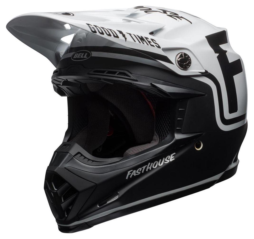 Casque cross Bell Moto 9 Mips Fasthouse Gloss noir mat/blanc - XS