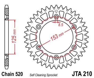Couronne JT Sprockets Aluminium pas 520 53 dents - Pour Honda CRF 250