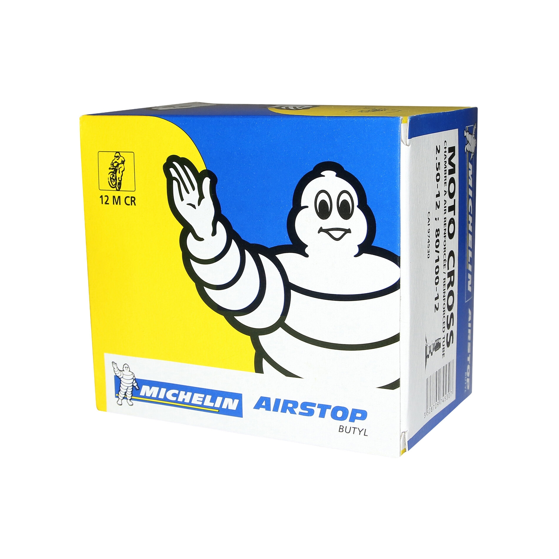 Chambre à air Michelin offroad 2,50-12 / 80/100-12 valve droite