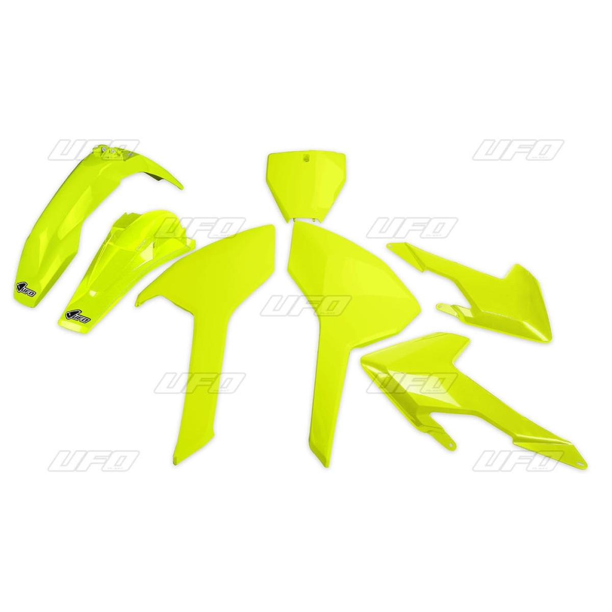 Kit plastique UFO Husqvarna 125 TC 16-18 jaune fluo