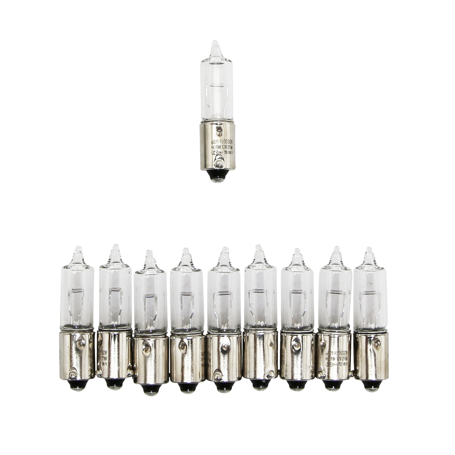Ampoules Flosser 12V 21W H21 culot BAY9S avec ergots décalés blanches