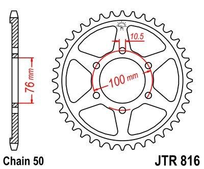 Couronne JT Sprockets Acier pas 530 50 dents - Pour Suzuki GS 550 M Ka