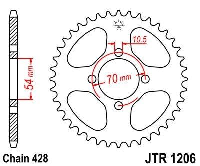 Couronne JT Sprockets Acier pas 428 42 dents - Pour Honda CBR 125 R 04