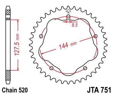 Couronne JT Sprockets Aluminium pas 520 42 dents - Pour Ducati Monster