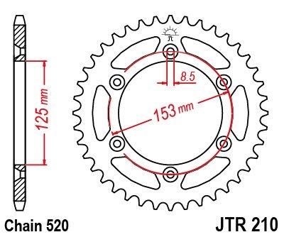 Couronne JT Sprockets Acier pas 520 53 dents - Pour Honda CR 250 R 90-