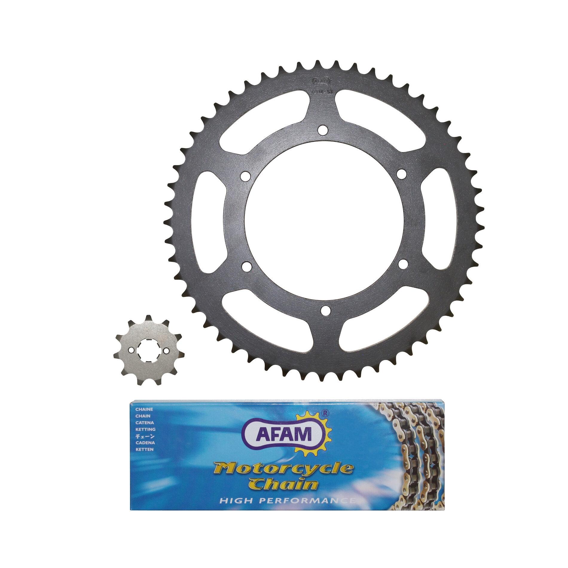Kit chaîne Afam pas 420 11X53 Derbi Senda Sm Drd / Racing / Evo / Gpr
